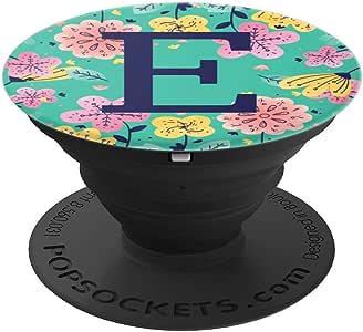 青色薄荷色交织字母首字母带黄色粉色花朵 E PopSockets 手机和平板电脑抓握支架260027  黑色