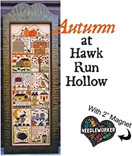 Autumn at Hawk Run 镂空十字绣图案加装饰针刺工人磁铁