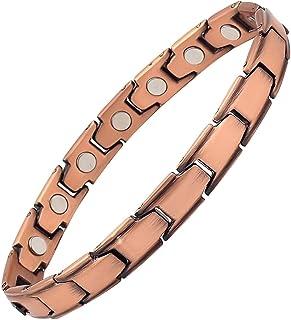 Reevaria 铜质手链适用于* - 99.9% 纯铜磁性手链,女式强力钕磁铁,可有效自然地缓解关节*、RSI、腕管道