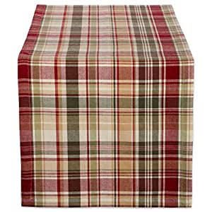 """DII 棉质桌布,非常适合秋季、感恩节、餐饮活动、晚会、特殊场合或日常使用 小屋格子图案 Table Runner - 14 x 108"""" CAMZ37780"""
