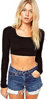 Vivian's Fashions Top - Crop Top, Long Sleeve 黑色 1X