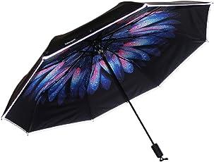 3M反光雨伞 安全防晒 反光条 黑胶三折伞 晴雨伞 商务伞 黑胶 大印花 防晒(亚马逊自营商品, 由供应商配送)