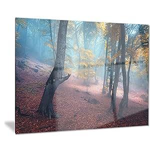 Designart 神秘仙子黄色木 L 码和斗篷照片金属墙艺术 - MT8488 28x12 MT8488-28-12