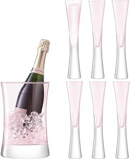 LSA International Moya 赧红香槟杯套装,5.5 x 5.5 x 25厘米,粉红色