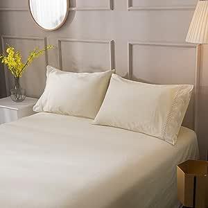 Lausonhouse 经典 300 支棉缎条纹被套套装 - (单人床,白色) 奶油色 全部 LASSCT16901CDTCRF