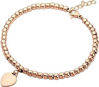555Jewelry 女士不锈钢爱心吊坠串珠精美手链