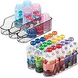 mDesign 小号塑料厨房储物隔层收纳盒适用于儿童/儿童用品 - 3 个隔层用于收纳婴儿食品罐、袋子、瓶子、鸭嘴杯、罐子、奶嘴、洗发水 - 不含双酚 A 烟灰色 2片装 05098MDB