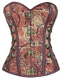 charmian 女式钢骨蒸汽朋克哥特式紧身胸衣/束腹 / 紧身胸衣附 chains