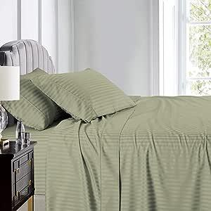 Royal Hotel 条纹床单,100% 棉,600 支,深口袋 淡紫色(Sage) 加州King size SHT600CK-ST-SAGE-FBA