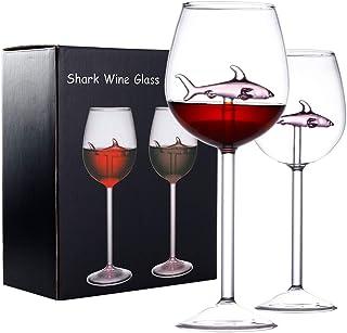 GENNISSY 鲨鱼红酒杯 2 件套,适合品酒、生日、周年纪念或婚礼的*礼物,10 盎司鲨鱼红酒杯高脚杯无铅高级水晶透明玻璃 Pink Shark Wine Glass Wine Glass
