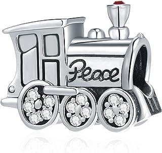 GEMDAZZ 和平列車引擎復古吊飾帶方晶鋯石,925 純銀我愛旅行串珠運輸工具特快掛墜適合潘多拉風格手鐲,生日禮物/圣誕節/朋友的禮物