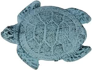 """Handcrafted Nautical Decor Cast Iron Decorative Turtle Bottle Opener, 4"""", Dark Blue/Whitewashed"""