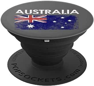 复古澳大利亚国旗自豪礼物 PopSockets 手机和平板电脑抓握支架260027  黑色