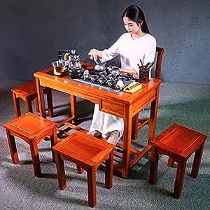 銮瓷 花梨木茶桌椅组合实木仿古泡茶桌功夫茶桌茶台茶几家具套装 (馨居茶桌+清雅凝香福缘9入)