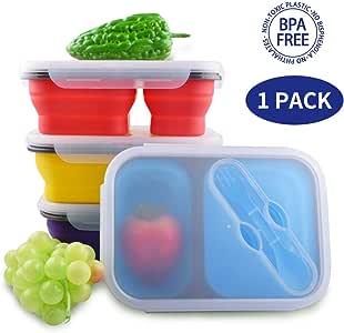 Dalebox 可折叠午餐盒 - 密封可扩展硅胶便当盒,不含双酚A,微波炉,洗碗机和冰箱,带 2 个隔层(1 个装) 红色 KT-SC-3QP1-1350