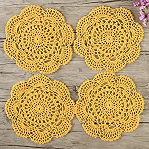 ZORJAR 厨房杯垫圆垫手工钩针棉质蕾丝玻璃咖啡餐桌垫 20.07 cm 4 件套 金色 PC0071