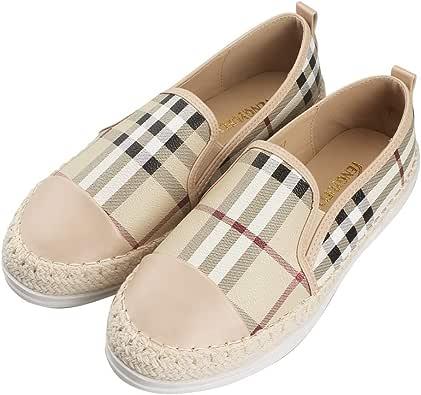 Tengyu 皮革一脚蹬平底鞋女士时尚运动鞋格纹乐福鞋帆布舒适驾驶节日鞋 米色 7 B(M) US/38 EU/24cm