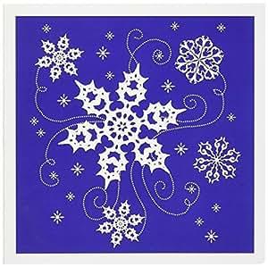 Dream Essence Designs 圣诞节 - 这件艺术品在可爱的蓝色背景上呈现一些漂亮的漩涡雪花 - 贺卡 Set of 6 Greeting Cards