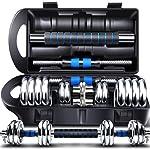 凯速 男士健身 电镀哑铃套装 健身器材家用 带泡棉连接杆可变杠铃 蓝黑盒装加强版15kg20kg