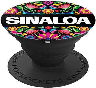 Sinaloa Flores Mexicanas PopSockets 手机和平板电脑握架260027  黑色
