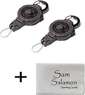 Boomerang Tool Company Hunting 可伸缩齿轮系绳,带可伸缩 Kevlar 线和登山扣、钩环带或皮带夹和通用线端接头(2 件装)w/Micro Sam Salamon 布料