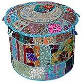 Stylo Culture 传统座椅棉质拼接刺绣粗横凳大坐垫套绿松石花卉 40.64 厘米脚凳地垫套民族装饰