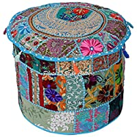 Stylo Culture 拼接刺绣粗横棱纹棉质凳子小狗套绿松石花卉软凳家居装饰传统座椅套