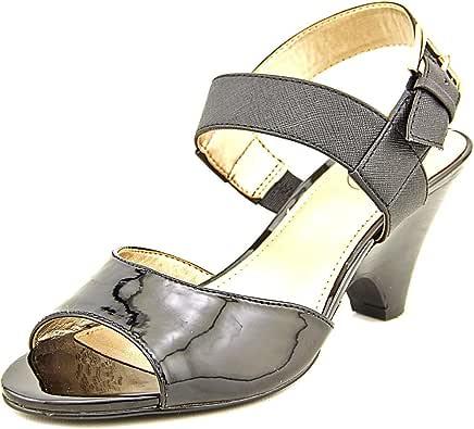Circa Joan & David Women's Naylor Leather/Patent Polyurethane Dress Sandal 黑色/黑色 11 B(M) US