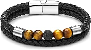 个性化大师编织真皮手链,不锈钢磁扣编织绳天然石虎眼脉轮串珠手链手镯黑色