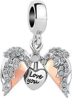 Cory Keyes 心形爱心天使翅膀吊坠打开你的心饰品 I Love You 串珠吊坠用于手链