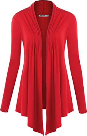 Lock and Love LL Womens Long Sleeve Draped Open Front Cardigan Wsk850_red Medium