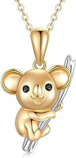 SISGEM 14K 纯金考拉项链女式考拉吊坠,简约可爱风格考拉熊项链生日礼物,适合男孩和女孩