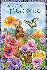 Toland Home Garden Bunny Poppies 28 x 40 Inch Decorative Spring Poppy Flower Easter Rabbit Welcome House Flag