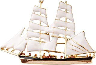 Knighthood 白色和金色帆船翻领别针 男女适用 LP-45