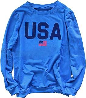 女式美国国旗印花运动衫青少年女孩字母印花长袖休闲圆领套头上衣