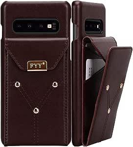 "FYY 轻量级牛皮真皮钱包手机壳适用于三星 Galaxy S10+ Plus 6.4英寸,手工制作大容量保护手机壳带卡槽,适用于 Samsung Galaxy S10+ Plus 6.4"" 2018 棕色"