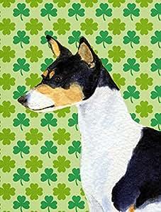 Basenji St. Patrick's Day Shamrock Portrait Flag 多色 大
