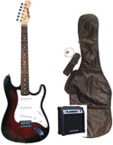 "39"" Full Size Red Electric Guitar with 10 Watt Amp (Includes, Gig Bag, Whammy Bar, Strap, Cable, Pick, Strings & DirectlyCheap(TM) Translucent Blue Medium Guitar Pick)"