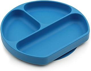 Bumkins 硅胶抓握餐盘,吸力餐盘,分隔盘,婴儿幼儿餐盘,不含BPA,适用于微波炉洗碗机-深蓝色