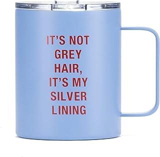 It's My Silver 内衬蓝色 283.5 毫升不锈钢保温酒杯带盖子