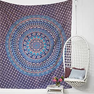 Miyanbazaz 纺织嬉皮士曼荼罗波西米亚迷幻花卉设计印度床裙魔法思维挂毯 蓝色 Queen (84X100)