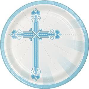 "Creative Converting 坚固风格圆形纸盘,22.23 厘米,祝福蓝色 Blessings Blue 8.75"" 422223"
