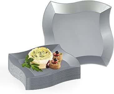 kaya 系列–一次性塑料 WAVE 盘子 银色 10'' Dinner Plates (120 Count)
