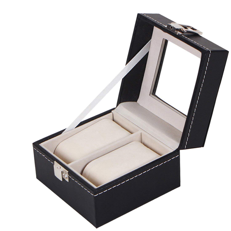 Royal Brands Square 男式手表展示盒带玻璃顶部首饰盒收纳袋 黑色 2 Slots 4463