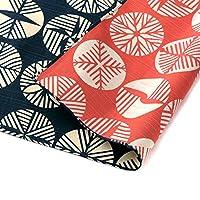 Furoshiki 传统日式面料包裹 - * 棉,日本制造,Honjien 双面伊莎·蒙约经典图案 Pine Leaves Iron black/Red 080-TF-20478-307