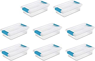 STERILITE 19618606 小夹盒,带蓝色水族箱锁 透明 Small, 8 Pack Sterilitechas7675756789