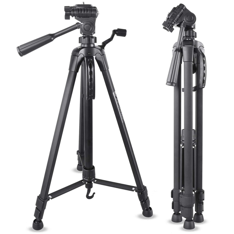 3とEmarth 55インチ光カメラ三脚、アルミニウムコンパクト三脚ニコンキヤノンソニーDVカメラに適した液体フラットヘッド
