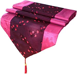 Artiwa Fuchsia 丝绸装饰桌巾/床巾 带桃红色花卉 紫红色 64 inch TR01A01L160