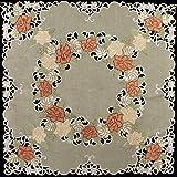 亚麻,Art and Things 刺绣桌垫,小桌布,复古绿色金色和锈色玫瑰,83.82 cm x 83.82 cm