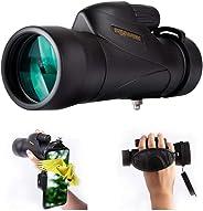 12x50 大功率单目望远镜和快速手机支架 - 明亮清晰单手焦防水防雾 - 适合观鸟、野营、旅行或观看野生动物12x50 High Definition 黑色